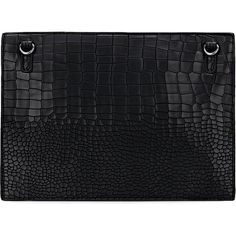 Yoins Croc Embossed Leather-look Clutch Bag in Black (500 MXN) ❤ liked on Polyvore featuring bags, handbags, clutches, croc embossed leather handbags, croc purse, croc handbags, croco handbags and faux crocodile purse