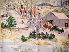 Grandma Moses Vintage Barkcloth Fabric
