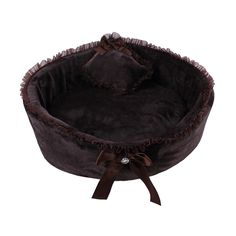 Pixnor Pet Dog Puppy Cat Soft Fleece Bed House Nest with Pillow (Coffee) -- Awesome product. Click the image (This is an amazon affiliate link. I may earn commission from it)
