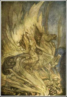 Arthur Rackham Siegfried funeralpyre