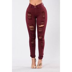 Havin It Skinny Jean Burgundy ($25) ❤ liked on Polyvore featuring bottoms