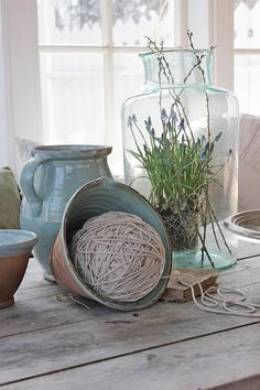 VIBEKE DESIGN: Beautiful pottery and old gorgeous glass jars in summer turquoise color