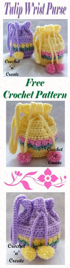 Free girlie tulip wrist purse, ideal for loose change and small knick-knacks. #crochet