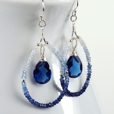 Earrings Diy Earrings : Shaded Blue Sapphire Kashmir Blue Quartz and Sterling Silver Teardrop Earrings Wire Wrapped Jewelry, Beaded Jewelry, Handmade Jewelry, Gold Jewelry, Earrings Handmade, Beaded Necklace, Garnet Necklace, Jewellery Earrings, Bridal Jewellery