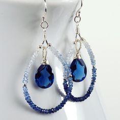 Earrings Diy Earrings : Shaded Blue Sapphire Kashmir Blue Quartz and Sterling Silver Teardrop Earrings Diy Schmuck, Schmuck Design, Teardrop Earrings, Gemstone Earrings, Hoop Earrings, Sapphire Earrings, Diy Drop Earrings, Crystal Earrings, Earrings Photo