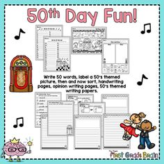 Day of school activities First Grade, Grade 1, 100 Days Of School, School Stuff, 50 Words, Opinion Writing, Writing Paper, 100th Day, Preschool Ideas