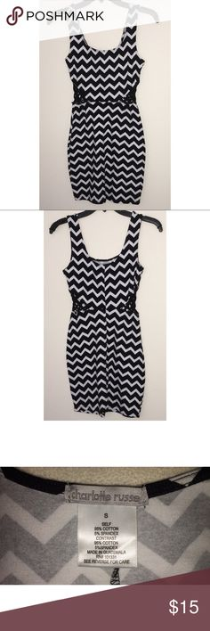 Charlotte Russe • Black & White Bodycon Dress Sexy patterned bodycon dress! Has cute criss cross stitched sides and is very flattering. Perfect for a night out. NWOT!  • Small (S) • Never been worn, in perfect condition! • Bundle for savings‼️(Feel free to add to your bundle, I'll send you a private offer OR send offers 💖) Charlotte Russe Dresses Mini