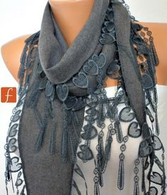 ON SALE  Gray Scarf    Pashmina Scarf    Cowl Scarf by fatwoman, $14.40