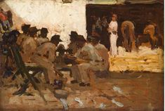 Arthur Melville, Stable Boy with Fez, Soldiers Seated, Morocco.