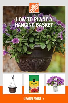 Create beautiful porch decorations with products from The Home Depot. It's easier than you might think to put together a gorgeous, custom-made hanging flower basket for your outdoor space. All you need is a basket, potting soil, flowers, fertilizer and water to get started. Click to learn more from The Home Depot.