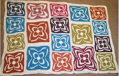 """Firenze Afghan Block by Julie Yeager - free pattern - this shows both regular and """"junior"""" size"""