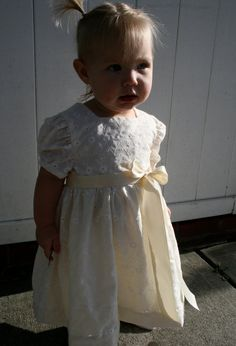 Ivory Flower Girl Dress  Made with Vintage Eyelet by TinyFingers, $46.00