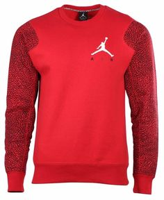 aadc3a928fc369 Jordan Elephant Fleece Crew Neck Sweatshirt Gym Red black white 634489-695  Sz L