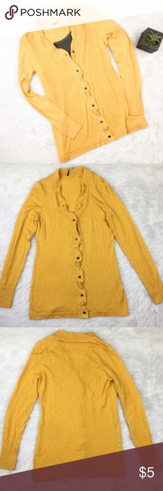 Elie Tahari Mustard Yellow Cardigan Elie Tahari mustard yellow 100% merino wool cardigan. Size extra small. Approximate measurements flat laid are 26' long, 24' sleeve, and 15 1/2' bust when closed. GUC except for two small hole from my sweater shaver 🙈😩 on the side back of cardigan. Not extremely noticeable. Price to reflex. ❌No trades ❌ Modeling ❌No PayPal or off Posh transactions ❤️ I 💕Bundles ❤️Reasonable Offers PLEASE ❤️ Elie Tahari Sweaters Cardigans