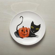 Halloween Black Cat Melamine Dinner Plate   Crate and Barrel