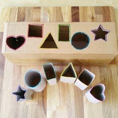 🔺💛Shape Matching Activity🔳🔵 I am still working on downsizing our recycled materials storage bin. Today, I chose toilet paper rolls and a… Toddler Activities Daycare, Toddler Sensory Bins, Preschool Learning Activities, Infant Activities, Activities For Kids, Crafts For Kids, Shape Matching, Kids Playing, Shapes