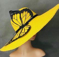 Yellow Kentucky Derby Hat handmade Black Butterfly Preakness Belmont Del Mar Dress Hat Bridal Wedding Hat Tea Party Hat Ascot - Soon Cobb Millinery Hats, Fascinator Hats, Fascinators, Kentucky Derby Outfit, Ascot, Derby Outfits, Tea Party Hats, Fancy Hats, Mellow Yellow