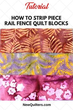 Learn how to strip piece Rail Fence Quilt blocks, one of the basic blocks that every quilter should know how to make. Quilting For Beginners, Quilting Tutorials, Quilting Projects, Sewing Projects, Quilting Ideas, Sewing Ideas, Strip Quilts, Patch Quilt, Easy Quilts