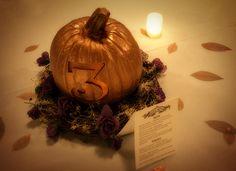 Pumpkin centerpieces & table number