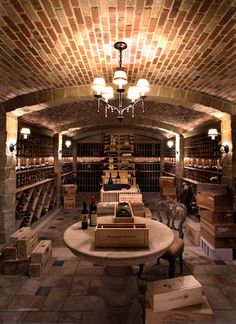 These people don't mess around! Private residence, Corona del Mar, California traditional wine cellar.