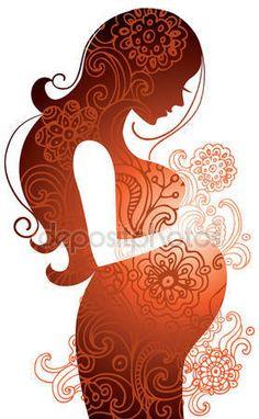 Télécharger - Silhouette de femme enceinte — Illustration #7398085