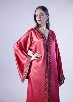 EVA RED SILK CAFTAN- luxury bohemian style caftan- red maxi dress-