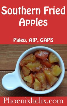 Sweet, soothing, and Southern, this recipe satisfies body and soul. Added bonus: it cooks up fast, so you can have this comfort food tonight. Primal Recipes, Side Dish Recipes, Paleo Recipes, Yummy Recipes, Side Dishes, Yummy Food, Fried Apples, Paleo Treats, Paleo Dessert