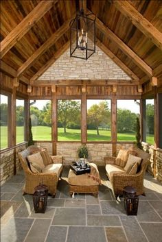 nice for a log home or lake house porch ~ Mare Barn Sun Rooms - traditional - porch - chicago - Avondale Custom Homes Cabin Porches, Decks And Porches, Screened In Porch, Enclosed Porches, Front Porch, Porch Gazebo, Brick Porch, Concrete Porch, Porch Roof