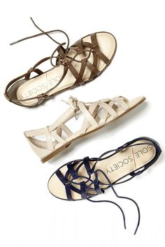Gladiator-inspired leather lace-up sandals//