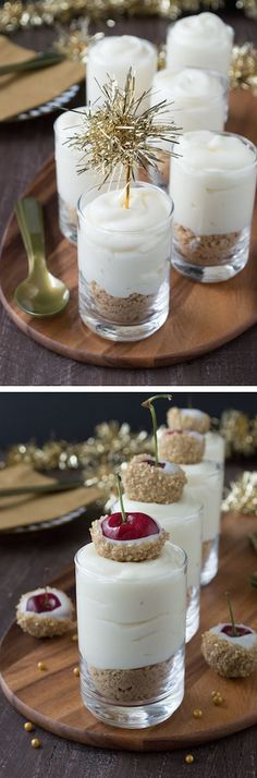 Make these fancy and easy white chocolate champagne cheesecake shooters for New Year's Eve! I LOVE the choice between the gold tinsel toppers and the cherries dipped in gold sprinkles!