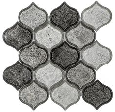 """Peach 9.76"""" x 10.12"""" Glass Mosaic Tile in Grayscale"""
