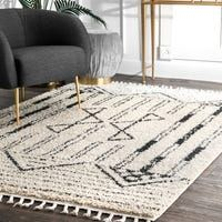 Shop The Curated Nomad Philo Off-white Plush Geo Aztec Tassel Shag Area Rug - On Sale - Overstock - 25487527 - x - Off white Area Rugs For Sale, Rug Sale, White Rug, White Area Rug, White Beige, Synthetic Rugs, Rugs Usa, Online Home Decor Stores, Online Shopping