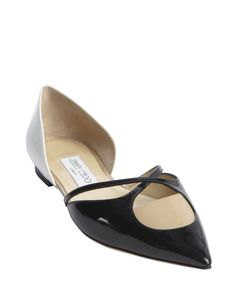 I love that there are three colors on these chic flats. Jimmy Choo black white and nude patent leather 'Rococoa' flats