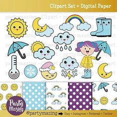 Kawaii Weather ClipArt Set Cute Weather Clipart Set Rainy Sun and Clouds Digital Clip Art Graphics INSTANT Download .18 Cliparts and 5 Matching Digital Papers. #drawing #illustration #kawaii #weather #clipart #etsy #etsyseller #planner #plannerjunkie