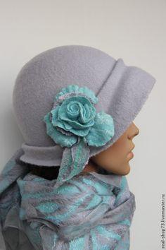 Купить Валяный комплект Нежный аромат весны - серый, аксесуары для одежды, бохо, шляпка
