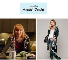 "On the blog: Alexis' (Molly Quinn) pattern maxi knit cardigan | Castle - ""Room 147"" (616) #tvstyle #tvfashion #outfits #fashion"