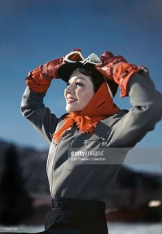 Actress Claudette Colbert poses for a portrait while skiing circa 1948 in Sun Valley, Idaho.