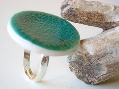 Turquoise Ring Statement ring fashion jewelry ceramic by azulado