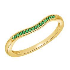 0.15ct Round Green Emerald 10k Solid Gold Anniversary Band + Black Diamond #Diamantjewels #AnniversaryBand