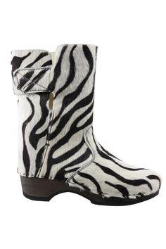 Laars Clumpy hout zool zebra schacht::laarzen kort::laarzen brede schacht::Grote maten - mode online | Gratis verzendig | Boots