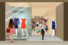 Une illustration de vecteur d'�l�gante femme achats dans un centre commercial photo
