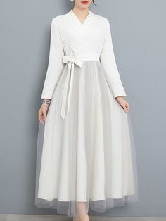 Retro Solid Color Contrast Sashes Bowknot Mesh Long Dresses Source by dress Muslim Fashion, Modest Fashion, Hijab Fashion, Fashion Dresses, Modest Dresses, Simple Dresses, Long Dresses, Ball Dresses, Prom Dresses