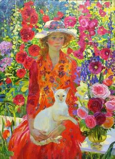 fleurdulys:  Flowers and a Cat - Olga Suvorova