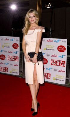 The Spotlight Was On Abbey Clancy At The Children's Champions Awards Thanks To Her Thigh-High Split Blush Dress, London 2010
