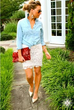 Laid Back in Lace || casual chic lace skirt with chambray shirt, red clutch & nude pumps