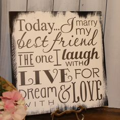 Today I Marry My Best Friend Sign/Wedding Sign/Subway Style/Reception Sign/Romantic Sign/U Choose Colors/Black/White