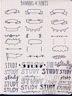 Banners and fonts - bullet journal journaling hand lettering My Journal, Bullet Journal Inspiration, Journal Fonts, Study Journal, Photo Journal, 100 Days Of Productivity, Pretty Notes, Cute Notes, Sketch Notes