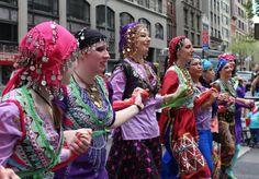Julia Kulakova and her Kurdish dance troupe at NYC's Persian Day Parade 2012  (photo credit - Mickela Mallozzi ©2012)