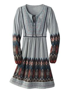 Women's Ikat Knit Peasant Dress - Boho print and detailed embroidery in a flattering, flowaway shape. Sahalie.com