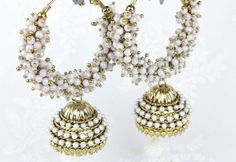 Long Gold & Silver Diamante Heavy Pearl work Ram Leela Hoop Jhumka Jhumki Dangle Drop Chandelier Bollywood Indian Vintage Style Earrings